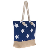 Blue & White Stars Canvas Tote Bag