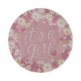 It's A Girl Paper Plates - Small