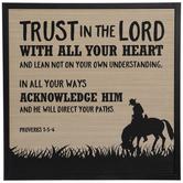 Proverbs 3:5-6 Cowboy Wood Wall Decor