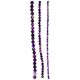 Purple Dyed Agate Glass Bead Strands