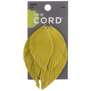 Lime Layered Imitation Leather Leaf Pendants