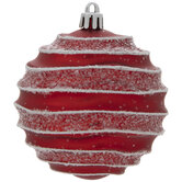 Red & White Ridged Ball Ornaments