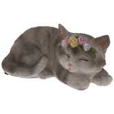 Sleeping Cat With Rose Crown