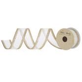"""Light Gold Glitter Wired Edge Sheer Ribbon - 1 1/2"""""""