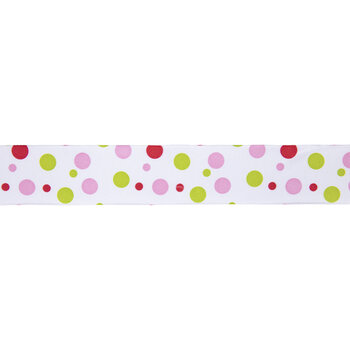 """Pink & Green Dots Wired Edge Grosgrain Ribbon - 1 1/2"""""""