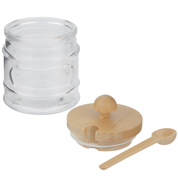 Glass Jar With Wood Lid & Spoon