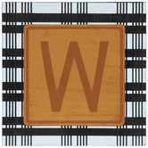 Plaid & Leather Letter Wood Wall Decor - W