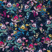 Navy & Floral Cotton Fabric