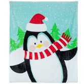 Penguin In Santa Hat Throw Blanket