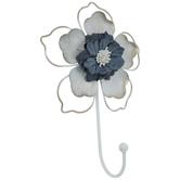 White & Blue Flower Metal Wall Hook