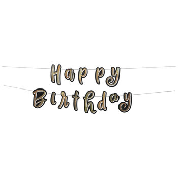 Black & Holographic Gold Happy Birthday Banner