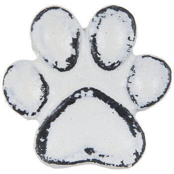 Whitewash Paw Print Metal Knob