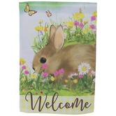 Welcome Bunny Garden Flag