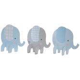 Blue & Gray Plaid Elephant Table Decor