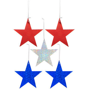 Holographic Patriotic Star Ornaments