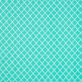Turquoise & White Quatrefoil Cotton Calico Fabric