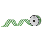 "Green & White Gingham Ribbon With Pom Pom Edge - 1 1/2"""