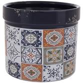 Blue & White Tile Pattern Flower Pot