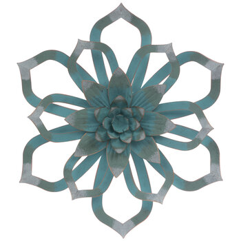 Blue Distressed Flower Metal Wall Decor