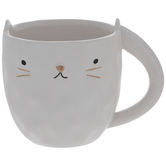 White & Gold Hammered Cat Mug