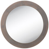 Gray Round Wood Wall Mirror