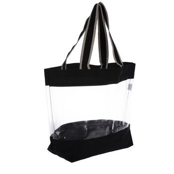 Black Canvas Tote Bag With Window