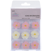 Pink & White Flower Icing Decorations