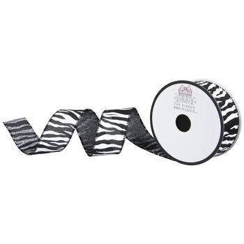 "Zebra Print Wired Edge Burlap Ribbon - 1 1/2"""