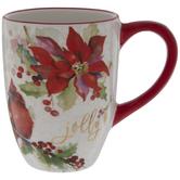 Jolly Cardinal & Poinsettia Mug