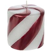"Beaded Peppermint Pillar Candle - 3"" x 3"""