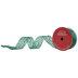 Green Glitter Scroll Sheer Wired Edge Ribbon - 2 1/2