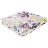 Pink & Teal Watercolor Floral Throw Blanket