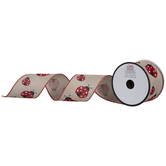 Ladybugs Wired Edge Ribbon - 2 1/2""