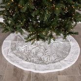 White & Silver Foil Berry Branches Velvet Tree Skirt
