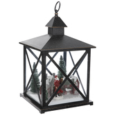 Black Light Up Winter Town Scene Lantern