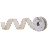 "Natural & Gold Metallic Burlap Wired Edge Ribbon - 1"""