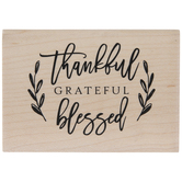 Thankful Grateful Blessed Rubber Stamp