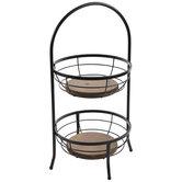 Black & Brown Two-Tiered Metal Basket