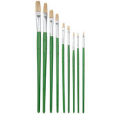 Bristle Flat Paint Brushes - 9 Piece Set