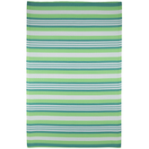Green & White Striped Outdoor Rug