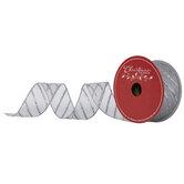 "Silver Glitter Diagonal Striped Wired Edge Sheer Ribbon - 1 1/2"""
