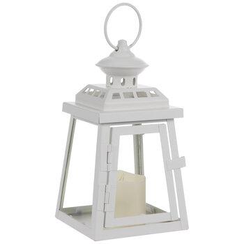 White Candle & Pyramid Metal Lantern