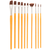 Brown Nylon All Purpose Paint Brushes - 10 Piece Set