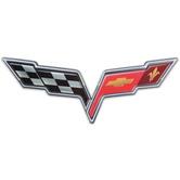 Corvette Racing Flag Metal Sign