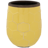 Yellow Honeycomb Flower Pot
