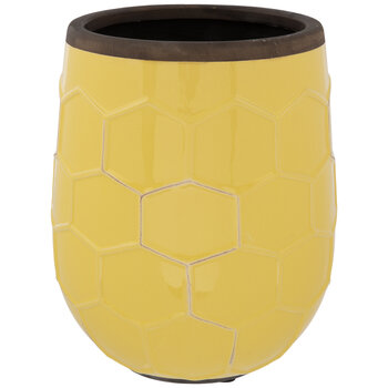 Yellow Honeycomb Flower Pot