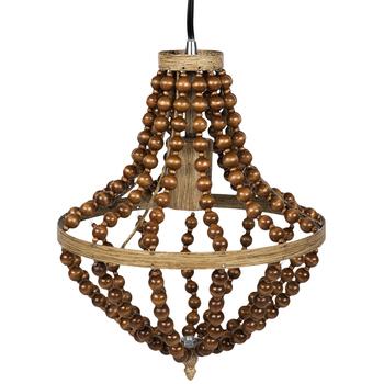 Wood Beaded Pendant Lamp