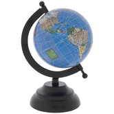 Mini Blue Globe On Black Stand