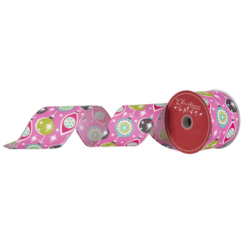 Pink Ornaments Wired Edge Ribbon - 2 1/2""