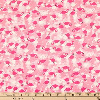 Pink Flamingo Allover Cotton Calico Fabric